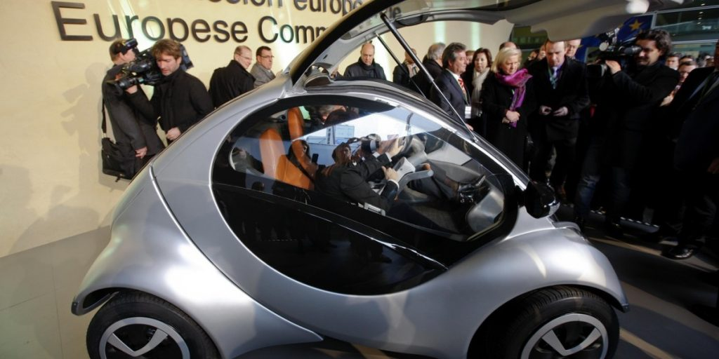 "There was a lot of excitement in 2012, when the Hiriko car was unveiled at this event at European Union headquarters in Brussels. At the time, the then-president of the European Commission, Jose Manuel Barroso, hailed the car as a trans-Atlantic ""exchange between the world of science and the world of business."
